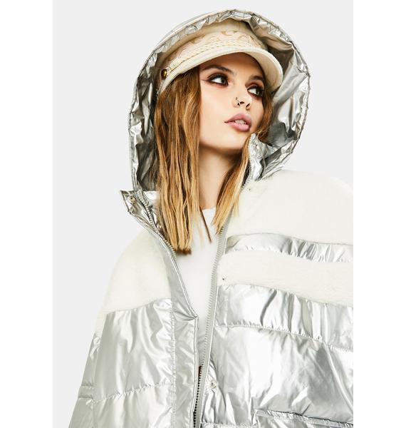 VIGOSS Metallic Sherpa Puffer Jacket