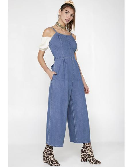 Charm School Denim Jumpsuit