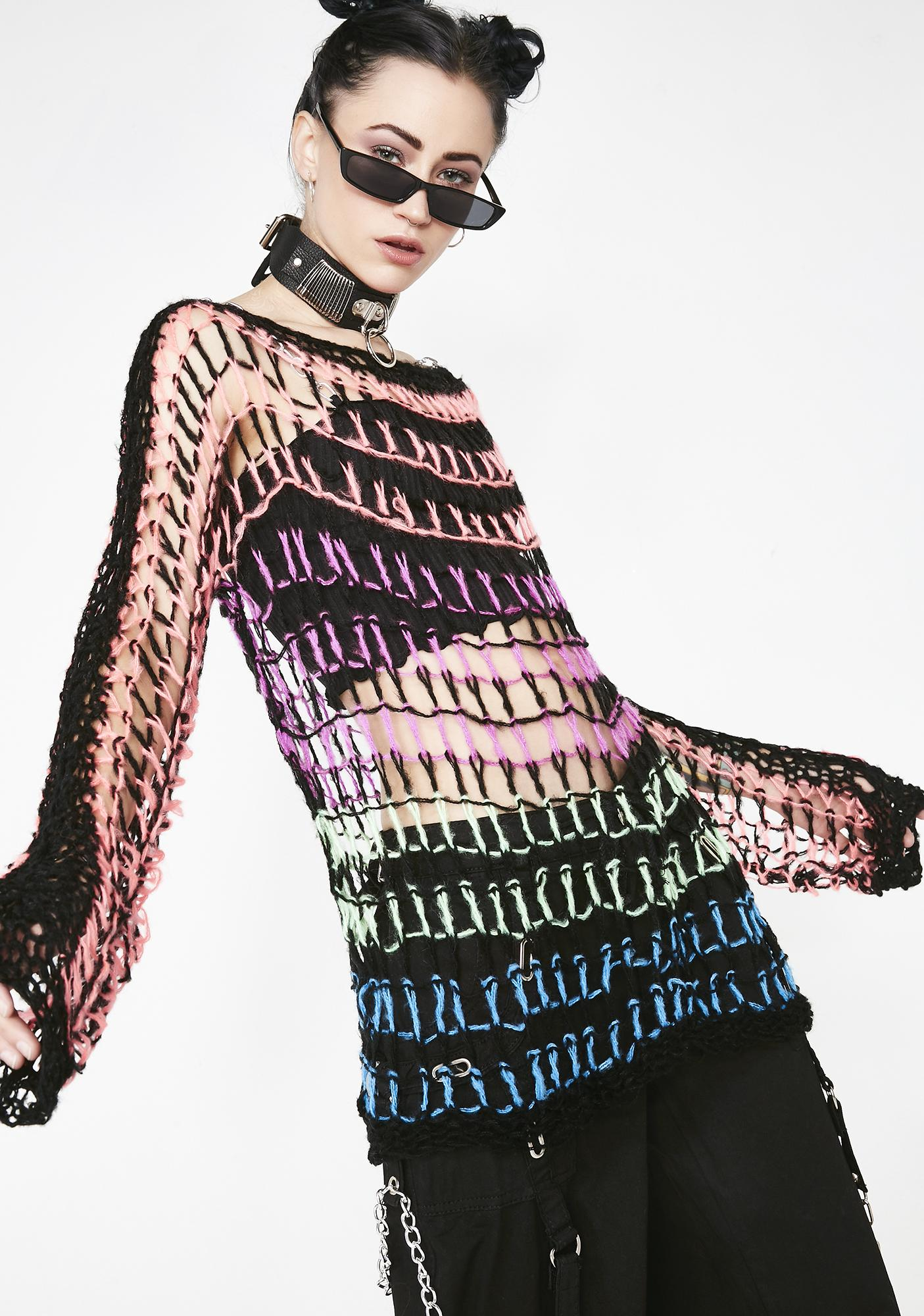 Current Mood Twisted Mindz Open Knit Sweater