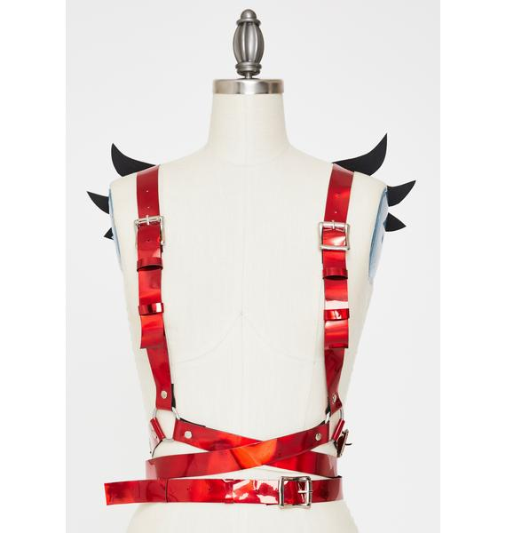 Daisy Corsets Red Metallic Mini Angel Wings Harness