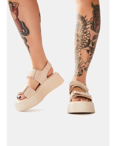 Off White Courtney Leather Platform Sandals