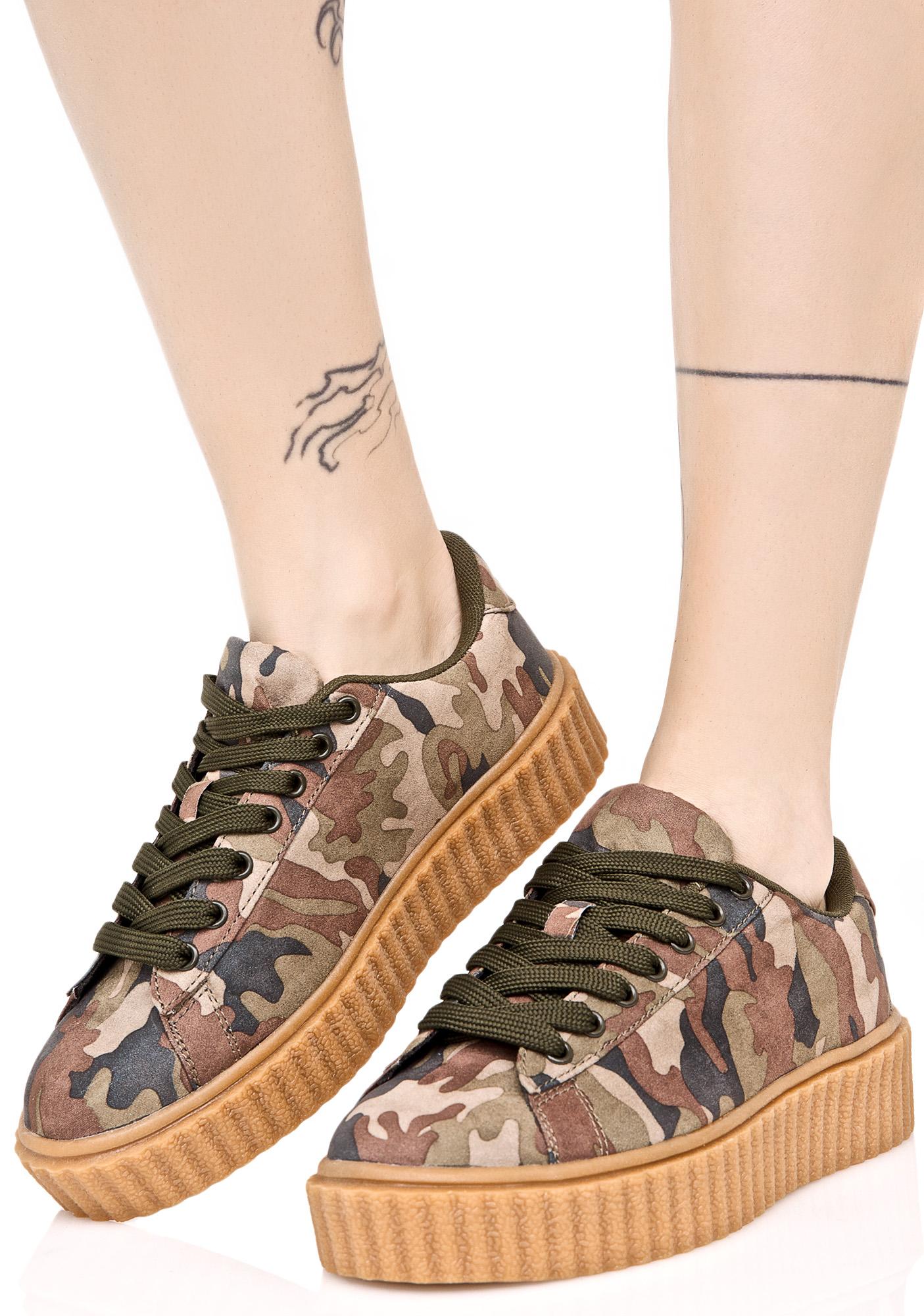 Camo Vegan Suede Creeper Sneaker