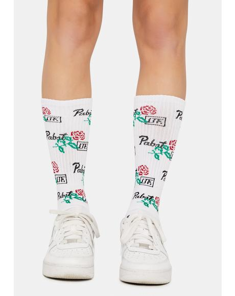 X PBR Rose Crew Socks