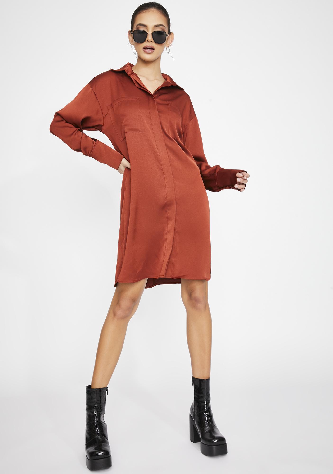 Glamorous Rust Satin Shirt Dress