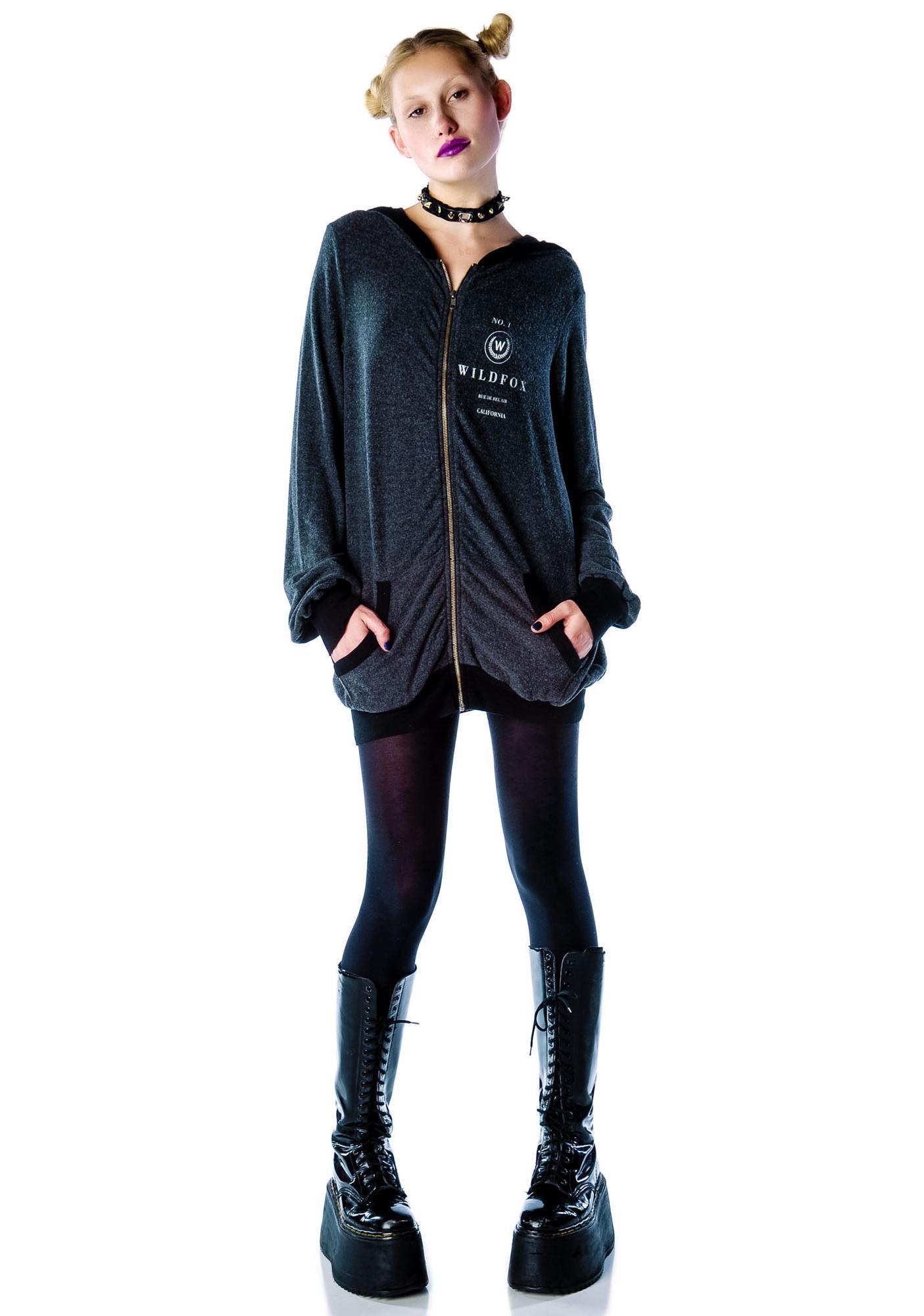 Wildfox Couture Rue De Bel Air Grunge Zip Up Hoodie