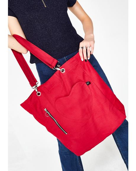Red Denim Pocket Tote