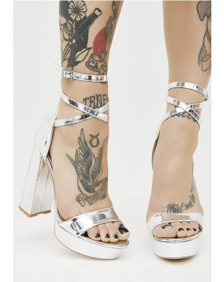 Platinum Mars Strappy Flared Heel Platforms