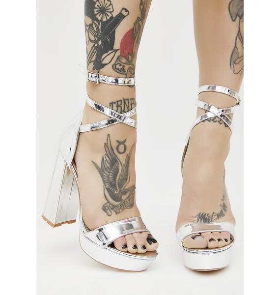 Public Desire Platinum Mars Strappy Flared Heel Platforms