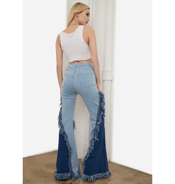 Sky Divine Luxe Fringe Two Tone Flared Jeans