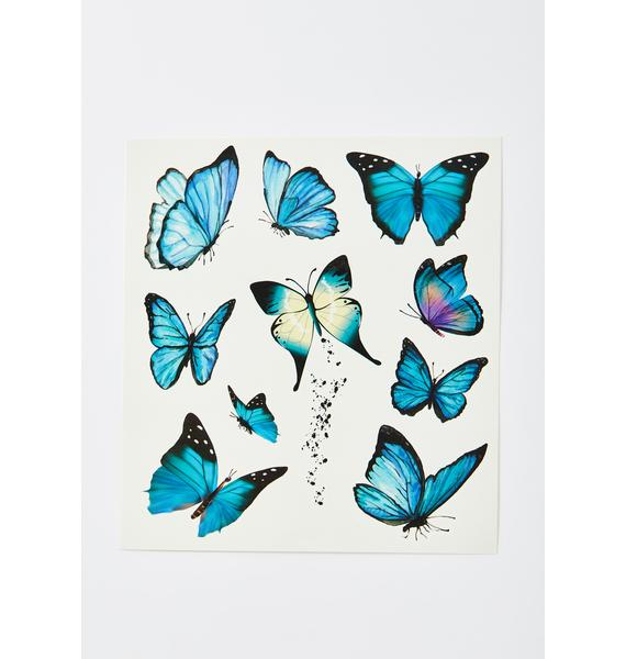 Sky Forever Flyer Butterfly Temporary Tattoos