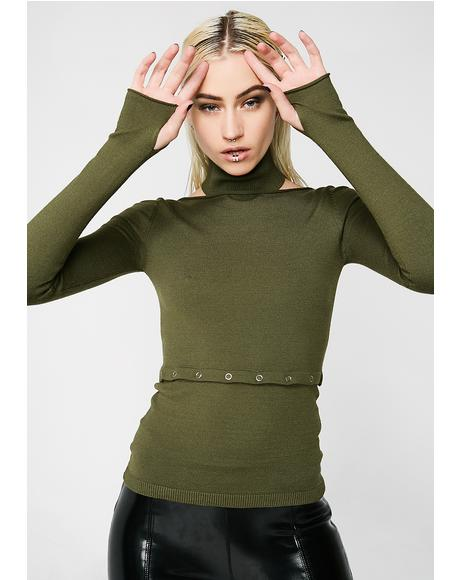 Green Cut Off Grommet Sweater