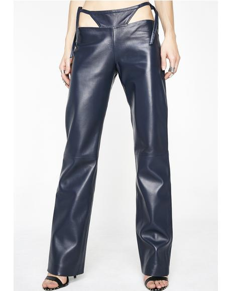 T Detail Leather Pants