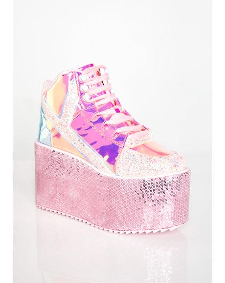 Pixie Qozmo Mermaid Sequin Platforms