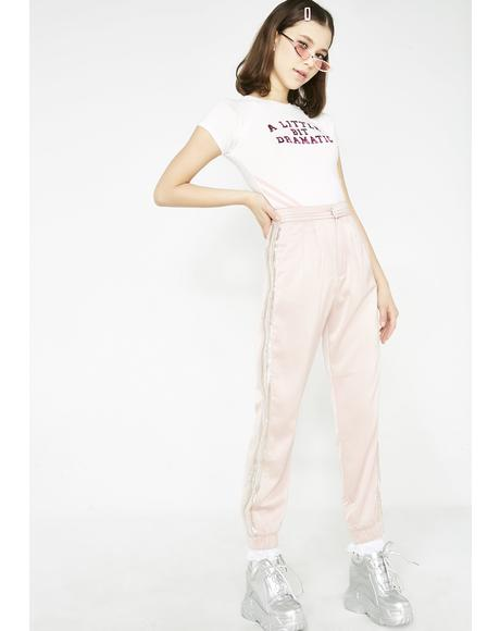 Over Dramatic Satin Joggers