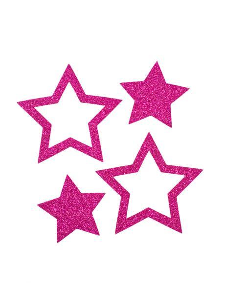 Hot Pink Glitter Star Pasties