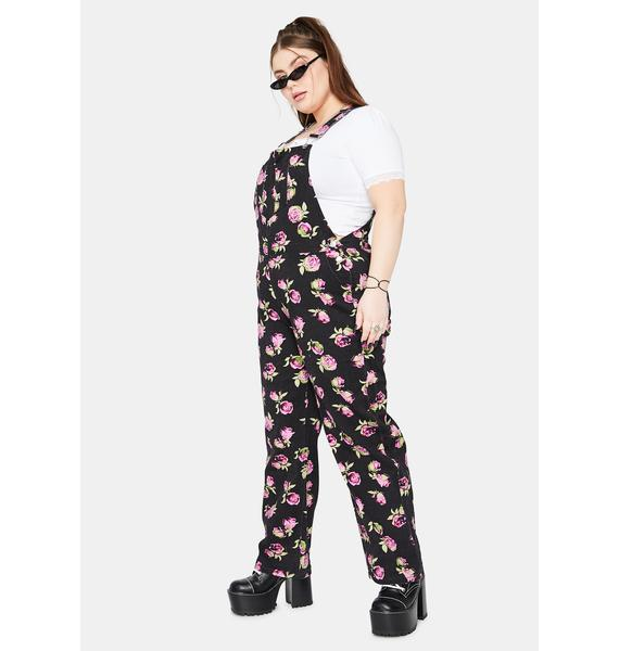 dELiA*s by Dolls Kill She's Lost In Yesterday Floral Overalls