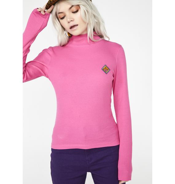 Lazy Oaf Pink Oaf Roll Neck Top