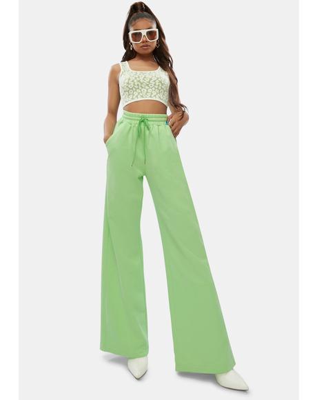 Lime Flashing Lights Wide Leg Lounge Pants