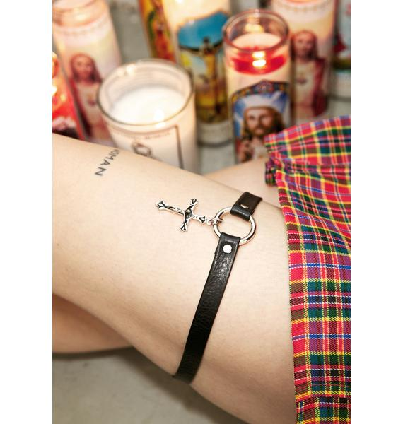 Vidakush Cross Leather Leg Chain