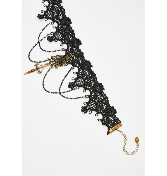 Victorian Sorceress Lace Cross Choker