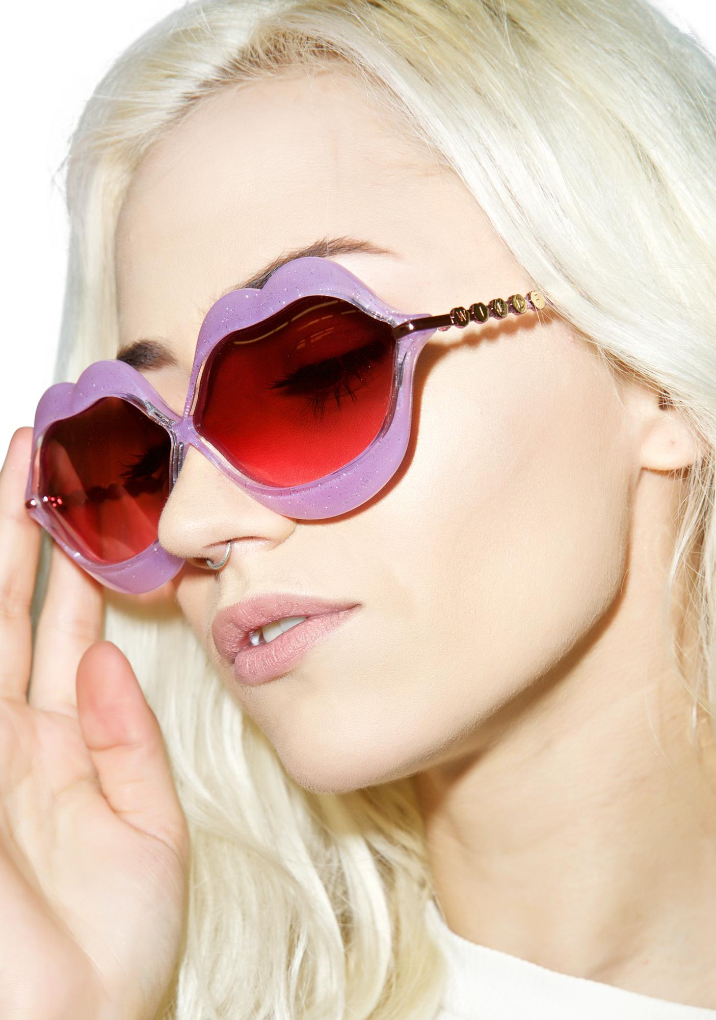 Lip Sunglasses  wildfox couture glitter lip service sunglasses dolls kill