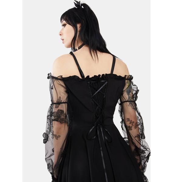 Dark In Love Gothic Off Shoulder Lace Puff Sleeve Mini Dress