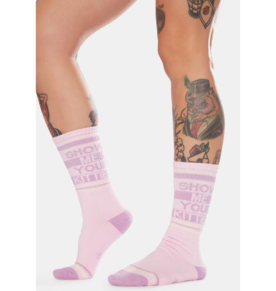 Gumball Poodle Blush Show Me Your Kitties Crew Socks
