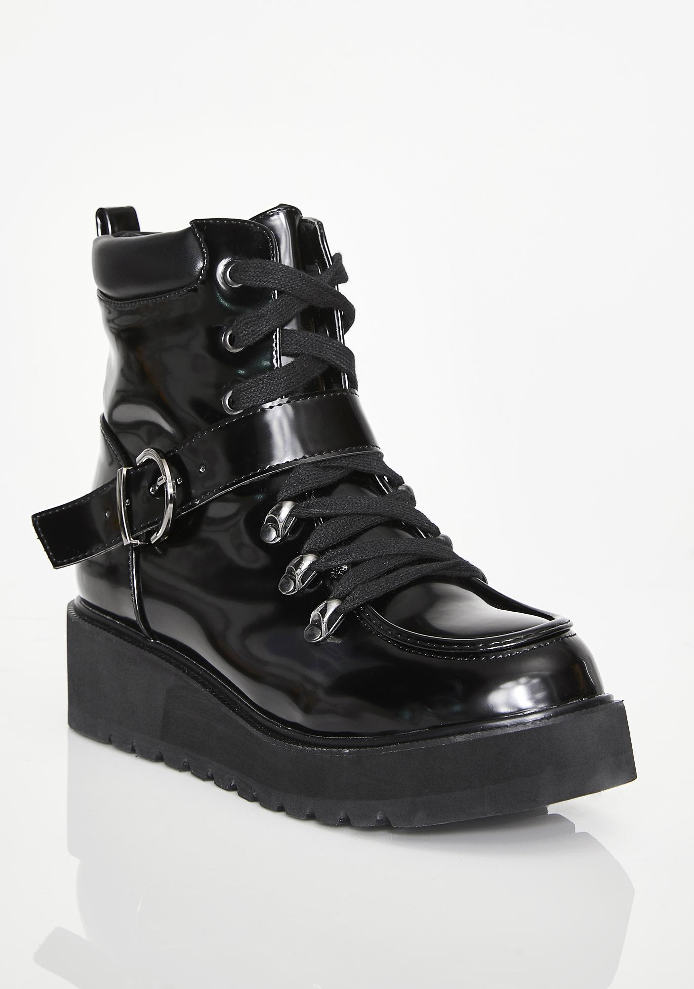 5be3618d983f Black Platform Buckle Combat Boots