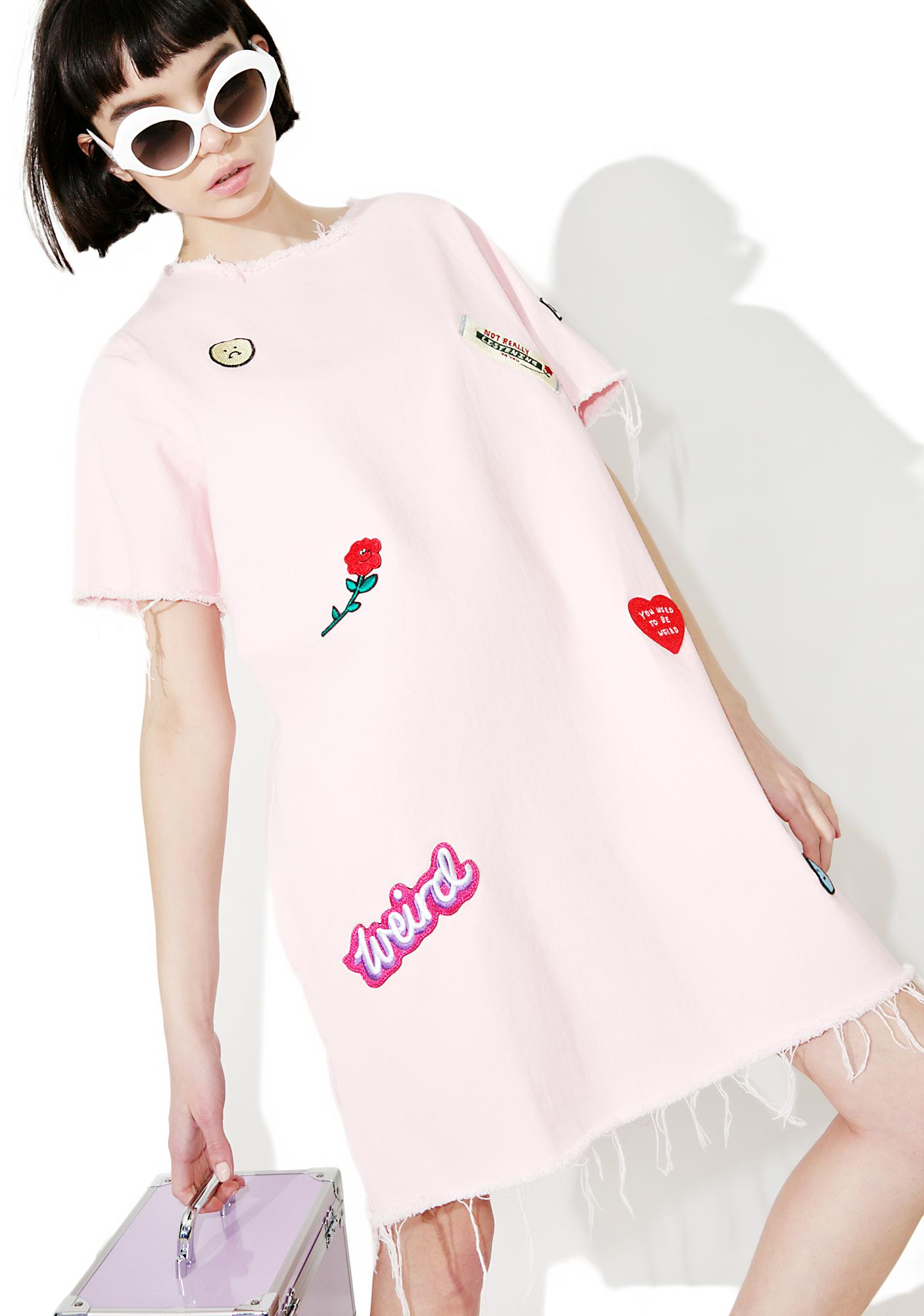 Lazy Oaf Denim Patch Tunic Dress