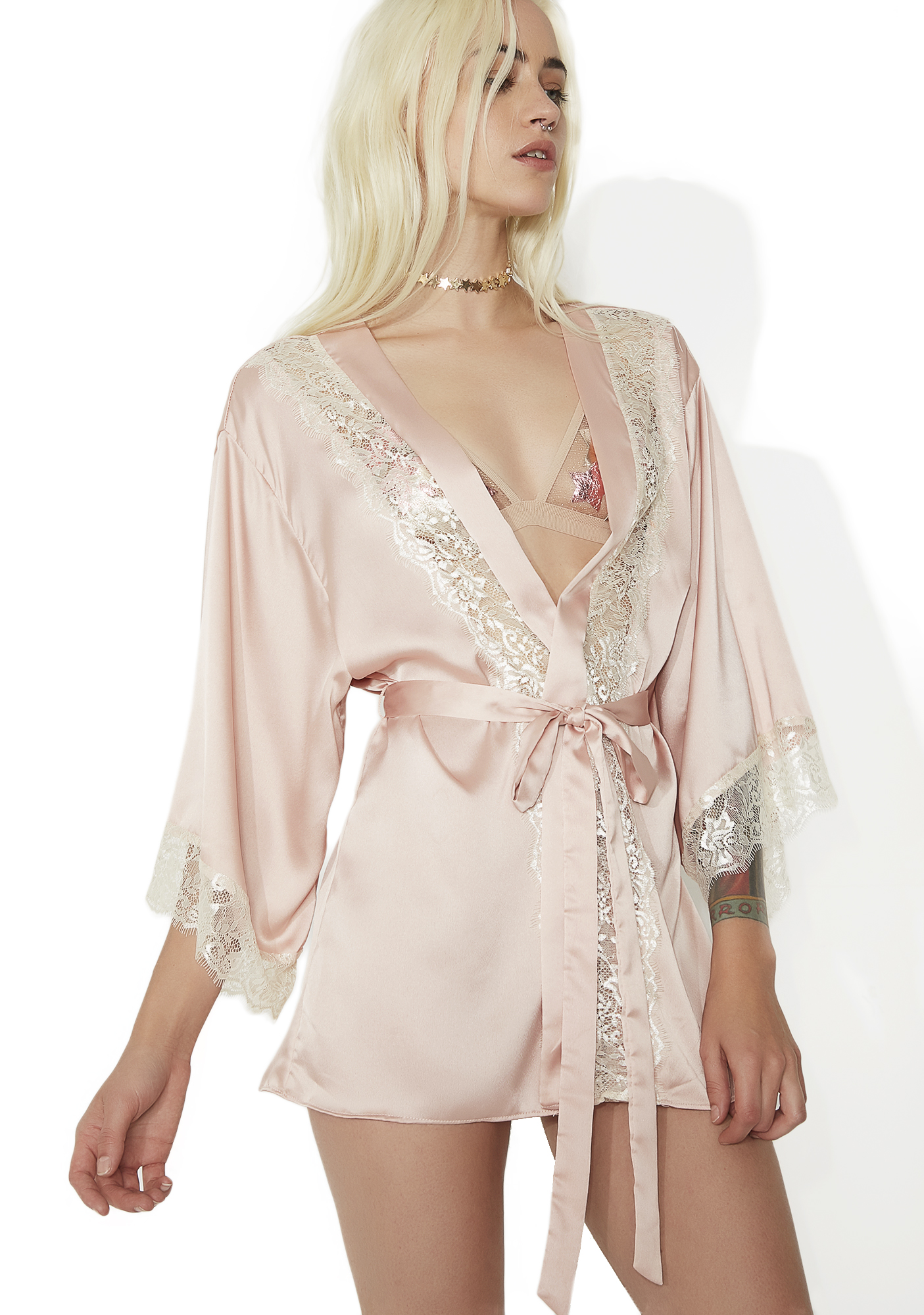 Satin Lace Robe Pink