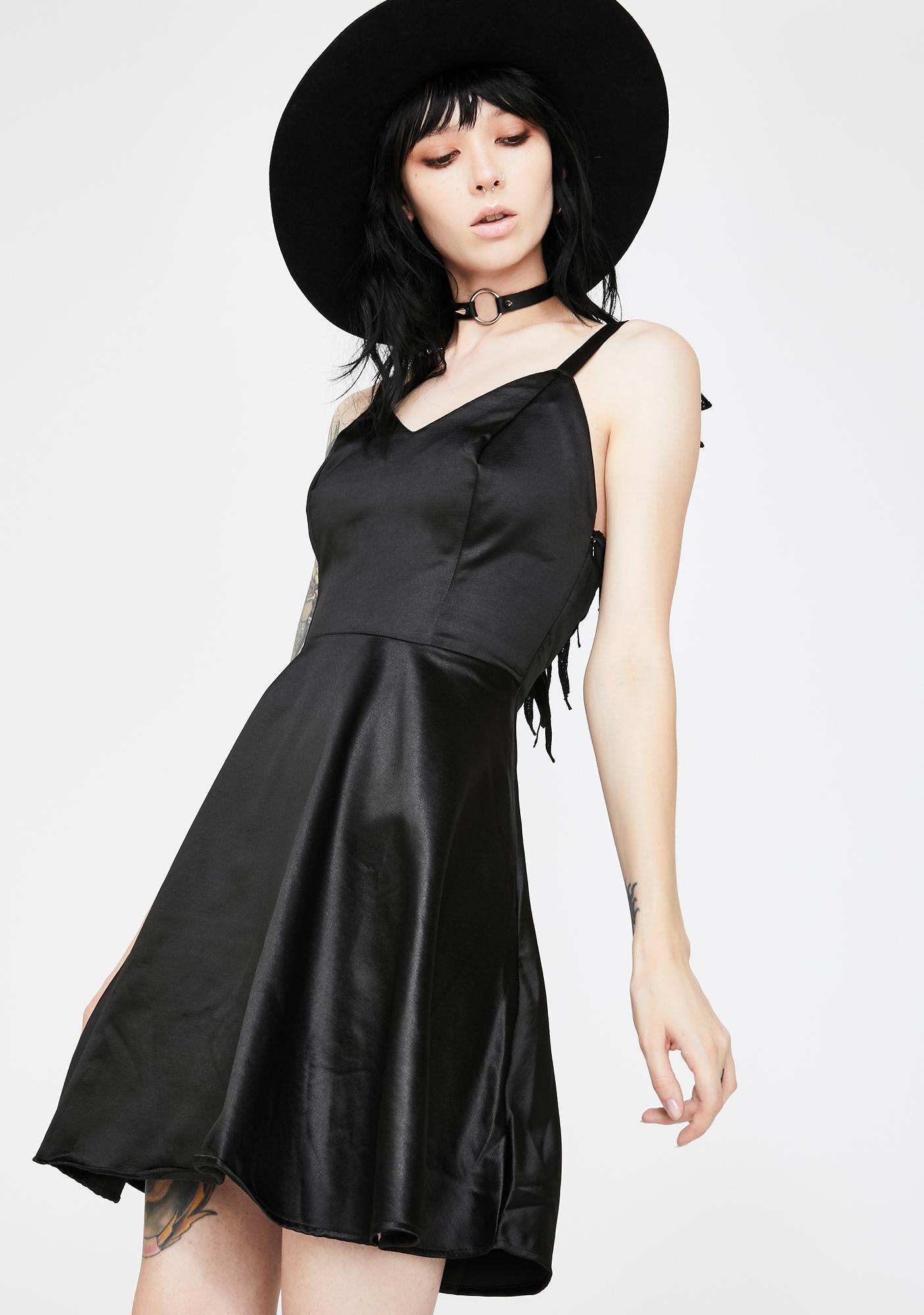 Dr. Faust Black Wings Raw Silk Dress