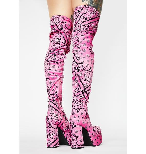 Sugar Thrillz Candy Bandit Thigh High Boots