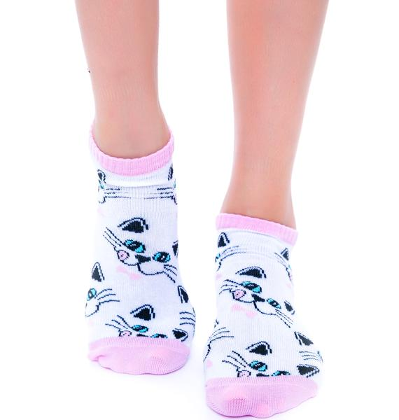 Show Me UR Kitty Faces Sock