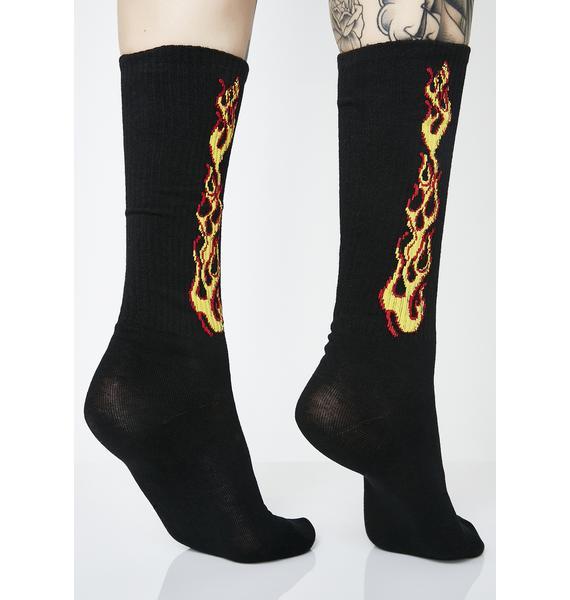 Feel The Heat Flame Socks