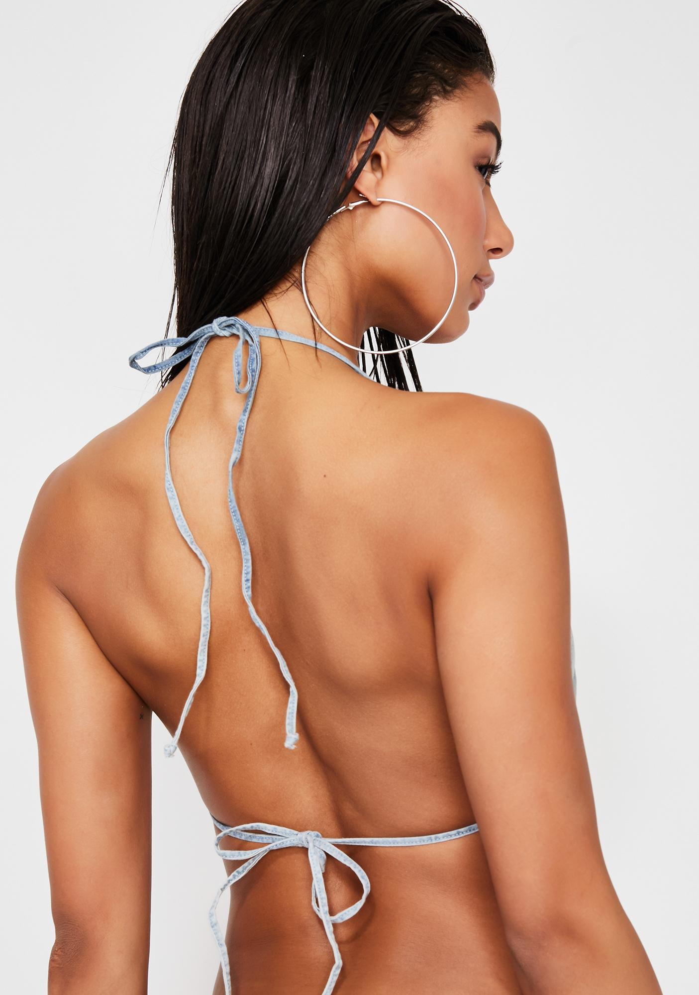 Frankies Bikinis Daisy Denim Bikini Top