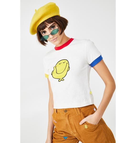 Lazy Oaf Mr Happy Colour Block Tee