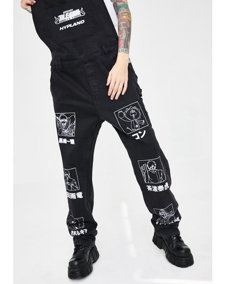X Bleach Denim Overalls