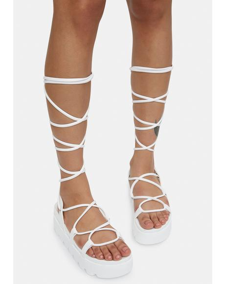 Bliss Go All Out Lace Up Platform Sandals