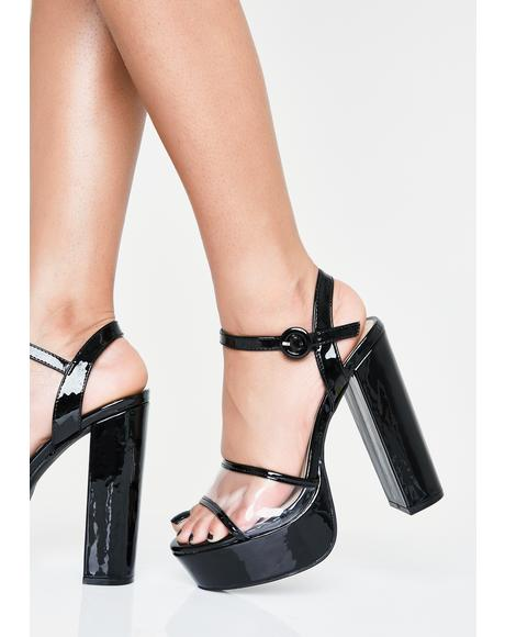 Clearly Out All Night Platform Heels