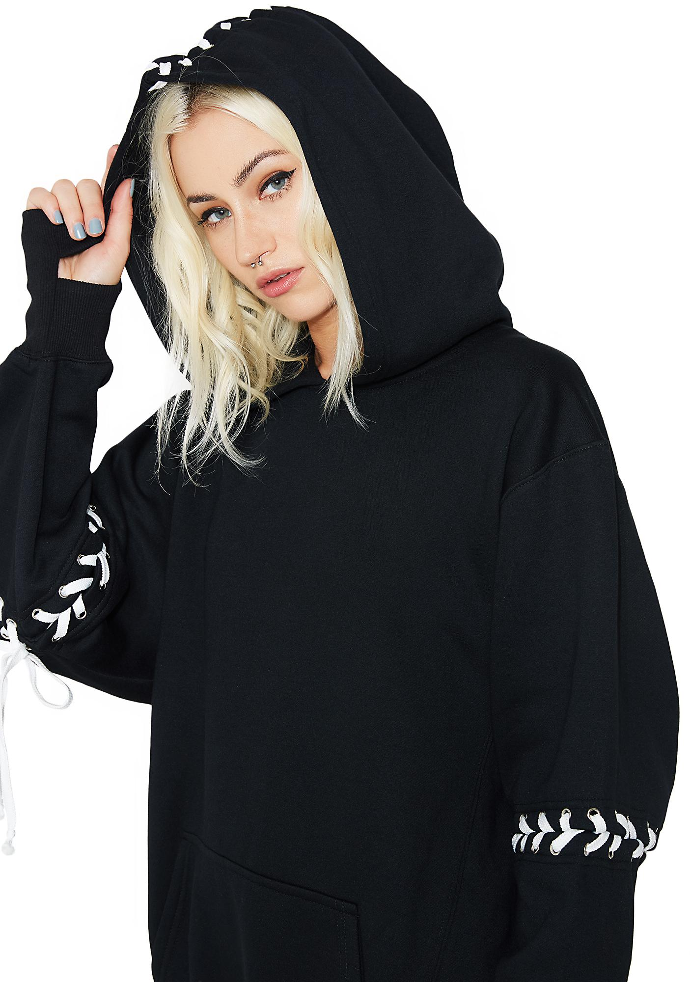 Current Mood Vengeance Lace-Up Hoodie Dress