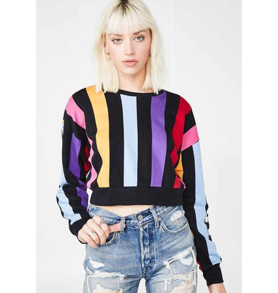 JUICY COUTURE Bold Vertical Stripe Track Pullover