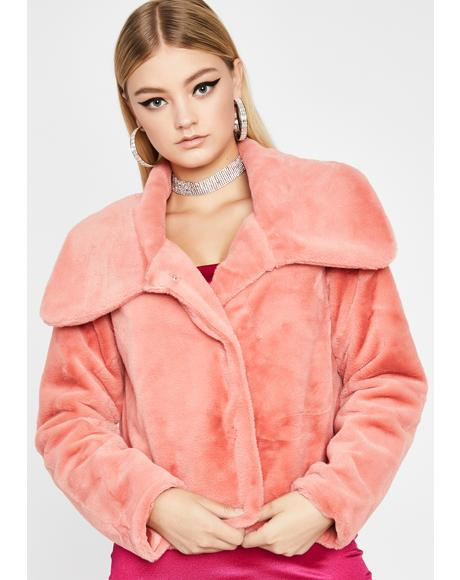 Grapefruit Cutie Moment Faux Fur Jacket
