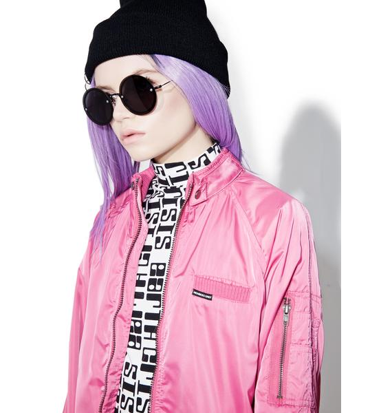 Members Only Rose Washed Satin Boyfriend Jacket