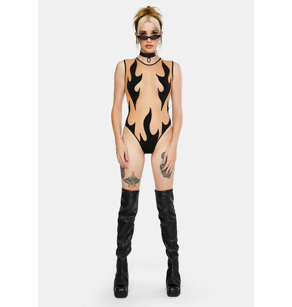 Neva Nude Black Flames Sheer Bodysuit
