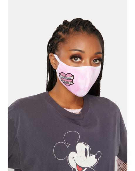 Boss Babe Pink Tie Dye Face Mask
