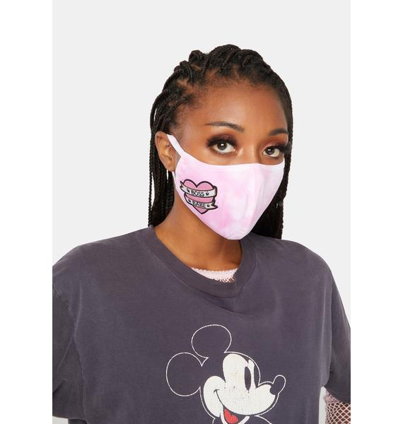 Rad + Refined Boss Babe Pink Tie Dye Face Mask