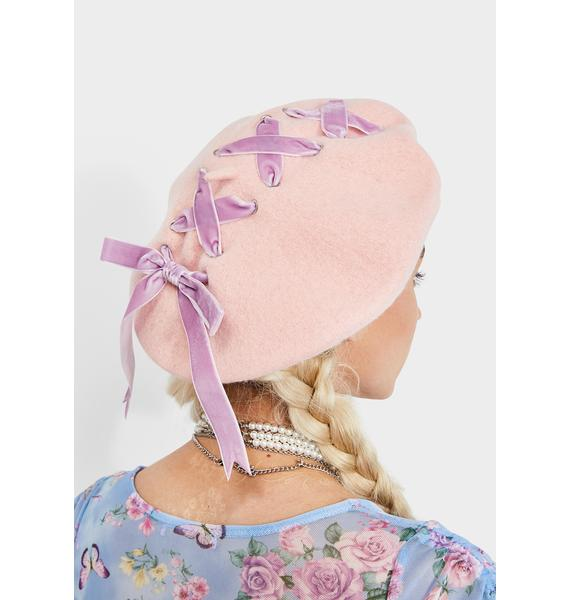 Candy Stitched Together Ribbon Beret