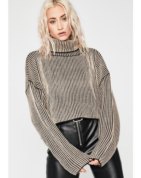 Taupe First Name Trouble Stripe Sweater