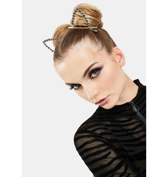 She's Catty Rhinestone Hair Clips