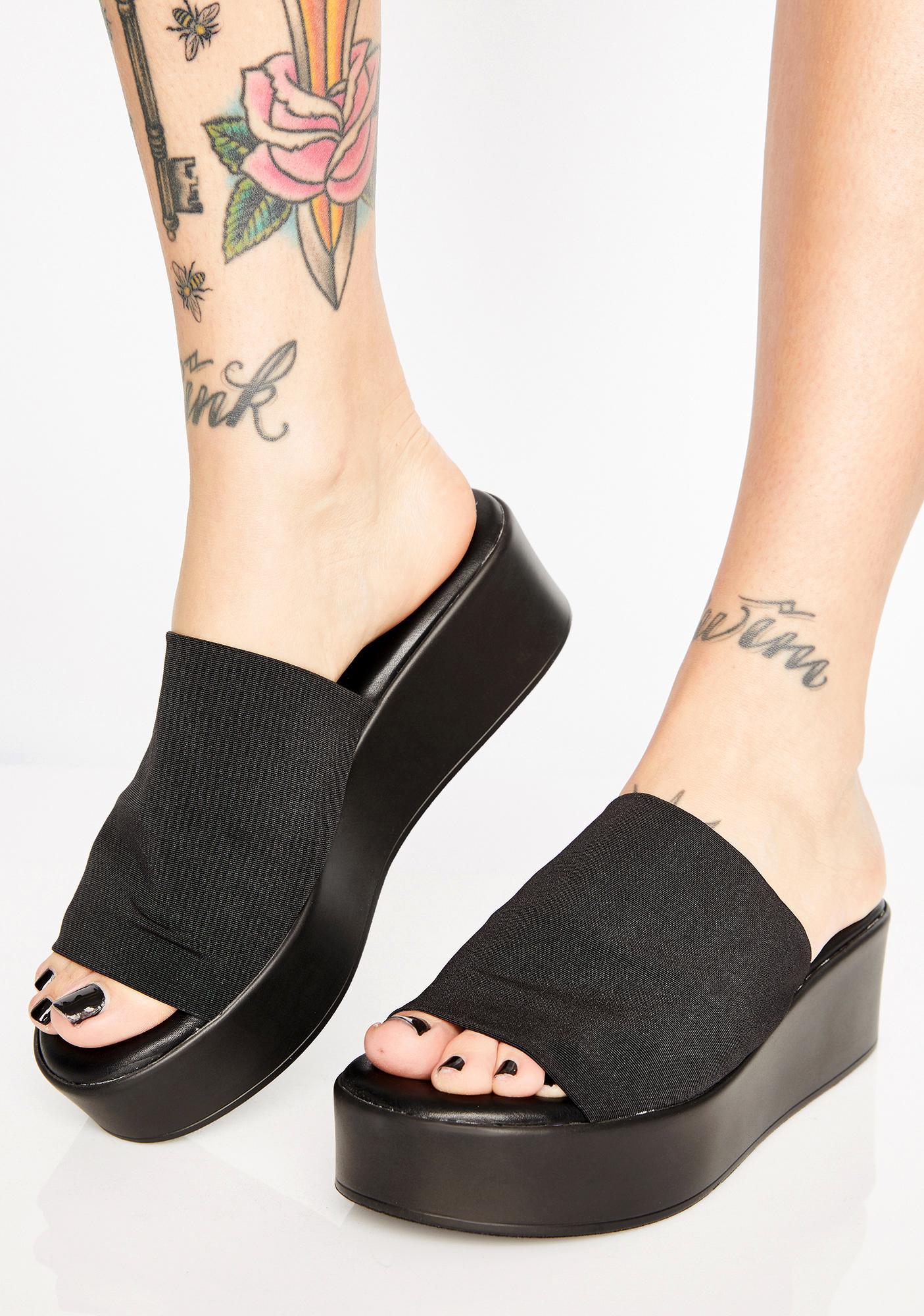 black platform mule sandals